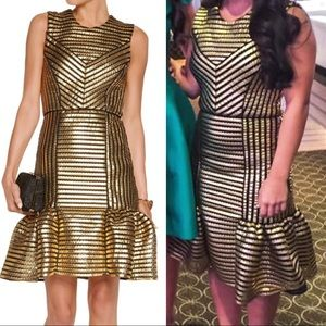 SOLD! MAJE- Fit & Flare Gold Dress